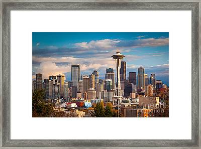 Sunny Seattle Framed Print by Inge Johnsson