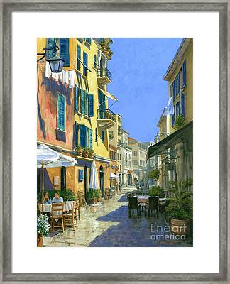 Sunny Side Of The Street 30 X 40 - Sold Framed Print by Michael Swanson