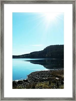 Sunny Sky By The Lake Framed Print
