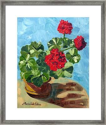 Sunny Spanish Geranium Framed Print by Maria Soto Robbins