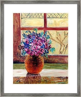 Sunny Window Ledge Framed Print by Caroline Street
