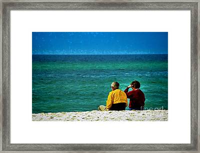 Sunny Winter Day At Beach Framed Print by Dave Bosse
