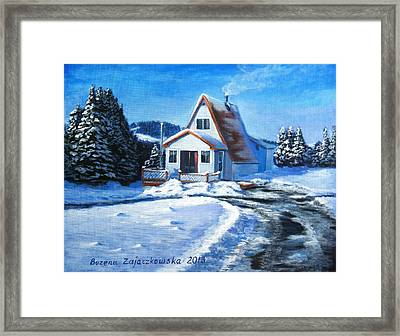 Sunny Winter Day By The Cabin Framed Print