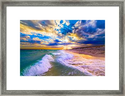 Framed Print featuring the photograph Sunrays Breaking Over Blue Sea-destin Florida Sunset by eSzra