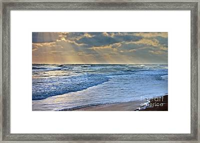Sunrays On An Angry Sea Framed Print