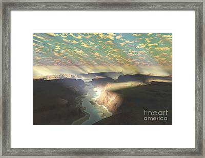 Sunrays Shine Down On Mist Framed Print by Corey Ford
