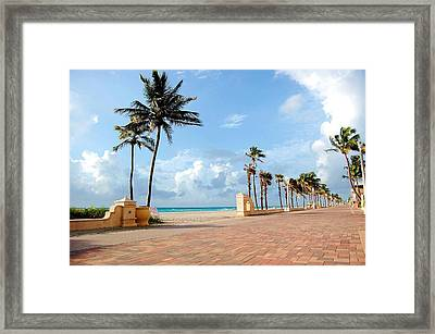 Sunrise Along The Hollywood Beach Boardwalk Framed Print by Shawn Lyte