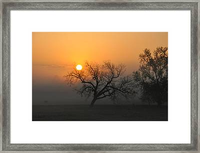 Sunrise And Fog Framed Print