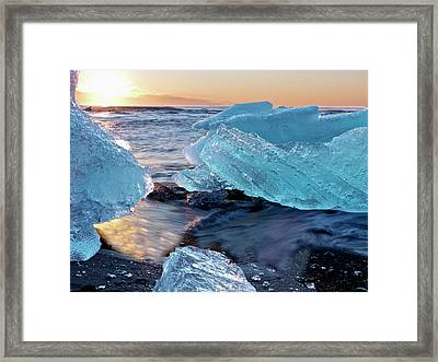 Sunrise And Iceberg Formation Framed Print by Tom Norring