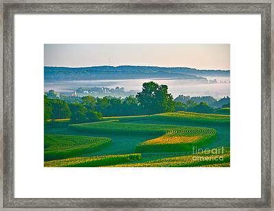 Sunrise And Morning Fog Framed Print