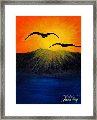 Sunrise And Two Seagulls Framed Print