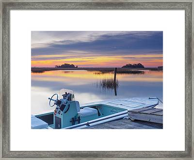 Sunrise Art Photograph - Hells Bay Marquesa Boat By Jo Ann Tomaselli Framed Print