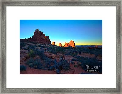 Sunrise At Arches National Park Framed Print by Tara Turner