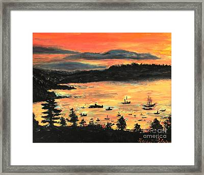 Sunrise At Bar Harbor Maine Framed Print by Helena Bebirian