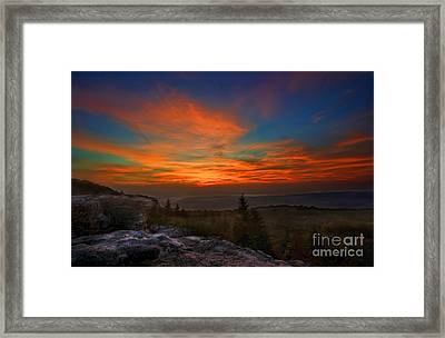 Framed Print featuring the photograph Sunrise At Bear Rocks In Dolly Sods by Dan Friend