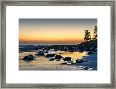 Sunrise At Burleigh Framed Print by Christina Magri
