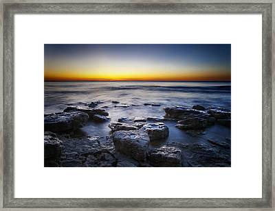 Sunrise At Cave Point Framed Print by Scott Norris