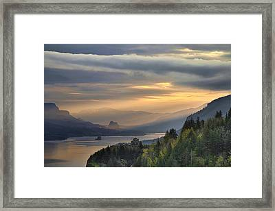 Sunrise At Columbia River Gorge Framed Print by David Gn