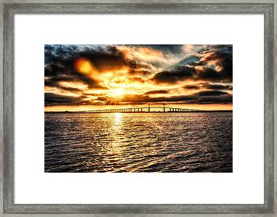 Sunrise At Ft. Desoto In Hdr Framed Print by Michael White