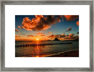 Sunrise At Hawaii Chainaman's Hat Framed Print
