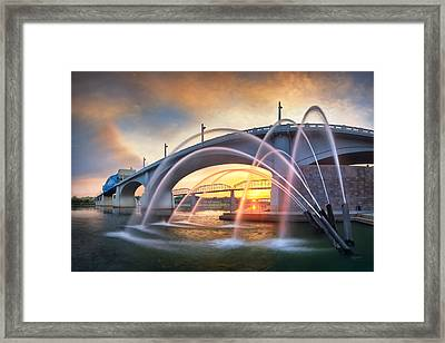 Sunrise At John Ross Landing Fountain Framed Print