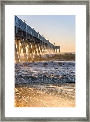 Sunrise At Johnnie Mercer Pier Framed Print