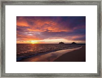 Sunrise At Lanikai Beach  Kailua Framed Print