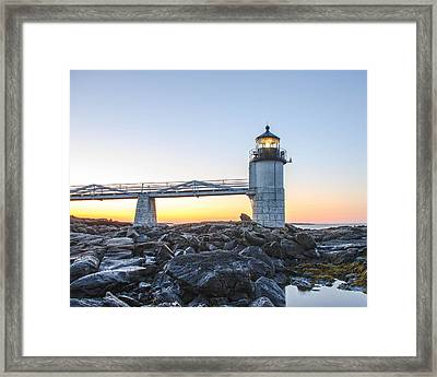 Framed Print featuring the photograph Sunrise At Marshall Point Lighthouse by Gary Wightman