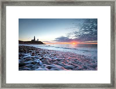 Sunrise At Montauk Point Lighthouse Framed Print