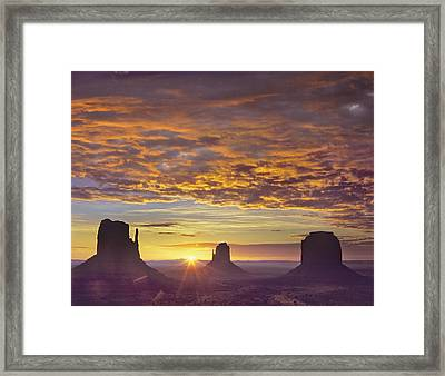 Sunrise At Monument Valley Framed Print by Tim Fitzharris
