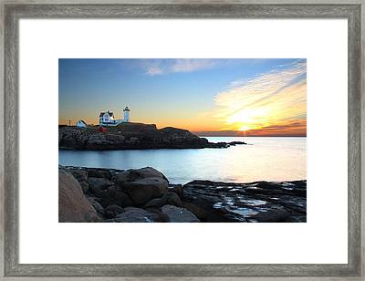 Sunrise At Nubble Framed Print by Andrea Galiffi