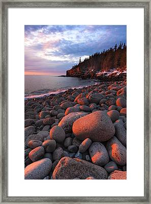 Sunrise At Otter Cliffs Framed Print by Patrick Downey