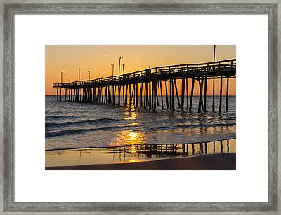 Framed Print featuring the photograph Sunrise At Outer Banks Fishing Pier by Gregg Southard