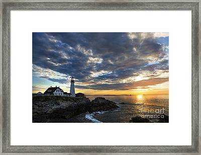 Sunrise At Portland Head Light Framed Print by Diane Diederich
