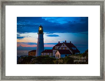 Sunrise At Portland Head Lighthouse Framed Print by Diane Diederich