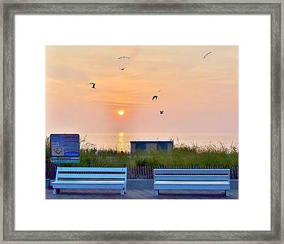 Sunrise At Rehoboth Beach Boardwalk Framed Print