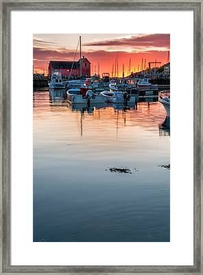Sunrise At Rockport Harbor - Cape Ann Framed Print