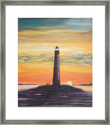 Sunrise At Sand Island Lighthouse Framed Print