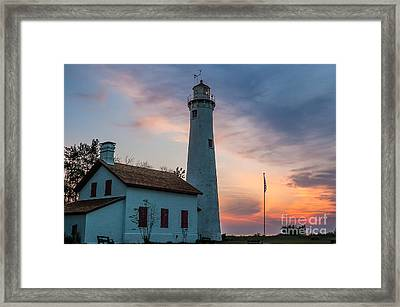 Framed Print featuring the photograph Sunrise At Sturgeon Point by Patrick Shupert