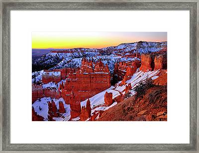 Framed Print featuring the photograph Sunrise At Sunset Point by Dan Myers