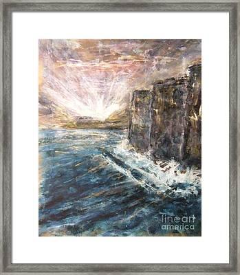 Sunrise At Tal-gurdan Cliffs Framed Print by Marco Macelli