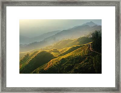 Sunrise At Terrace In Guangxi China 2 Framed Print