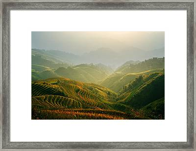 Sunrise At Terrace In Guangxi China 3 Framed Print