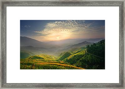 Sunrise At Terrace In Guangxi China 5 Framed Print
