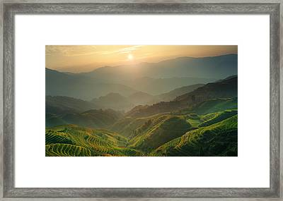 Sunrise At Terrace In Guangxi China 7 Framed Print
