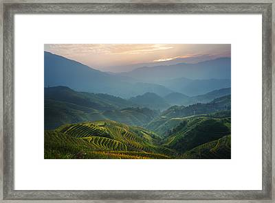 Sunrise At Terrace In Guangxi China 8 Framed Print