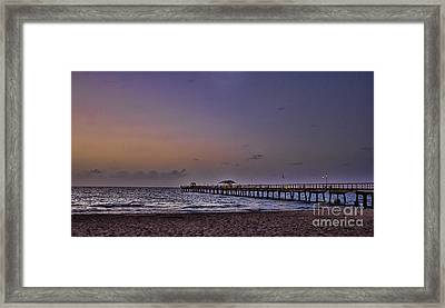 Framed Print featuring the photograph Sunrise At The Beach by Anne Rodkin