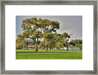 Sunrise At The Greenskeeper Garage Framed Print