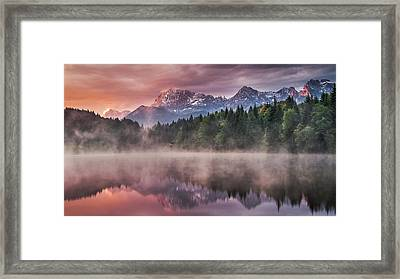 Sunrise At The Lake Framed Print by Andreas Wonisch