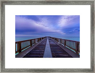 Sunrise At The Panama City Beach Pier Framed Print by David Morefield